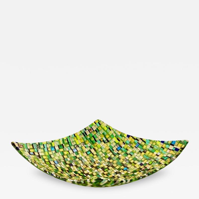 Modern Italian Jewel Like Green Yellow 24Kt Gold Murano Art Glass Mosaic Bowl