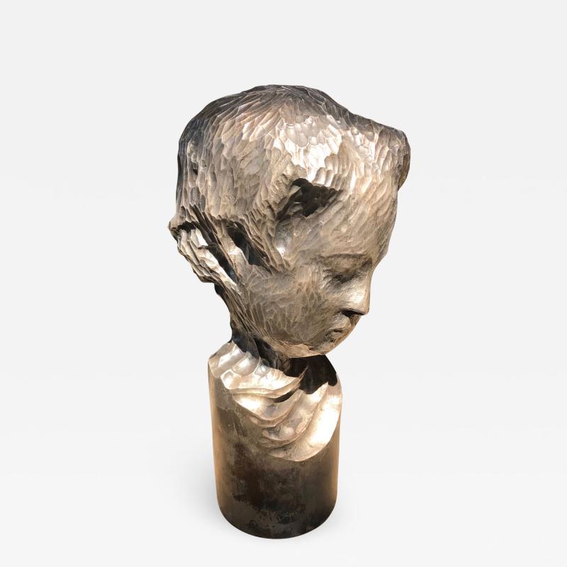 Modern Italian Sculpture Sterling Silver Child Portrait 1970s