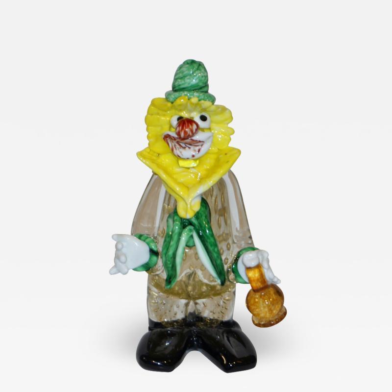 Modern Italian Yellow Black Murano Glass Clown Sculpture with Bottle Green Tie