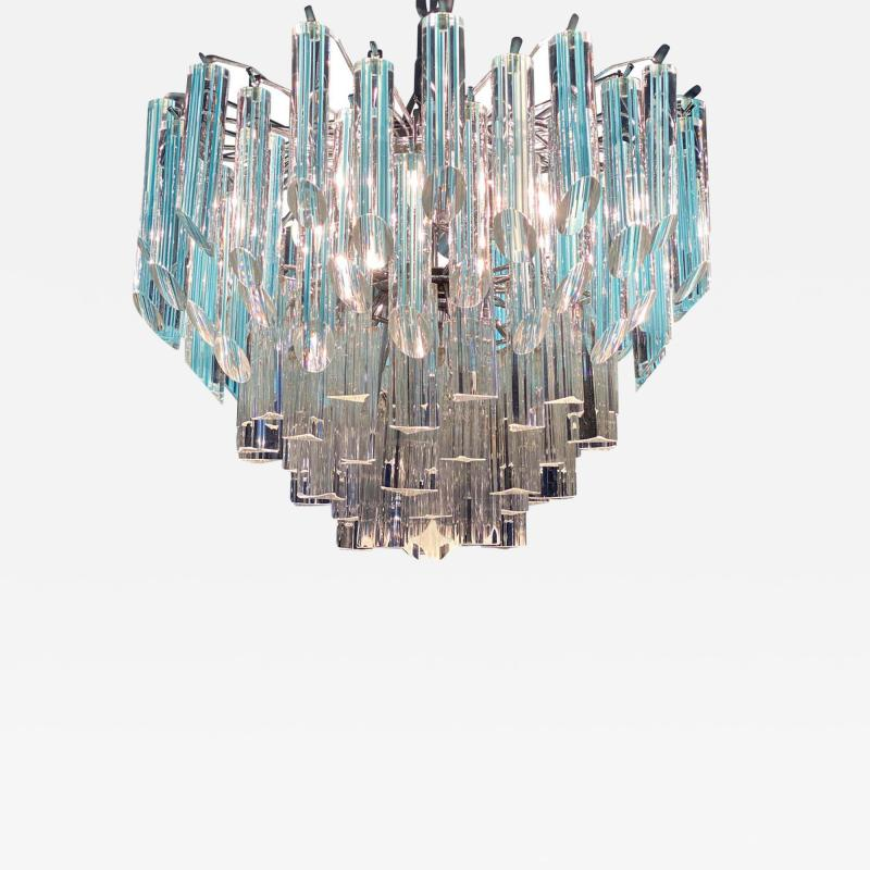 Modern Multitier Crystal Prism Murano Glass Chandelier 1970