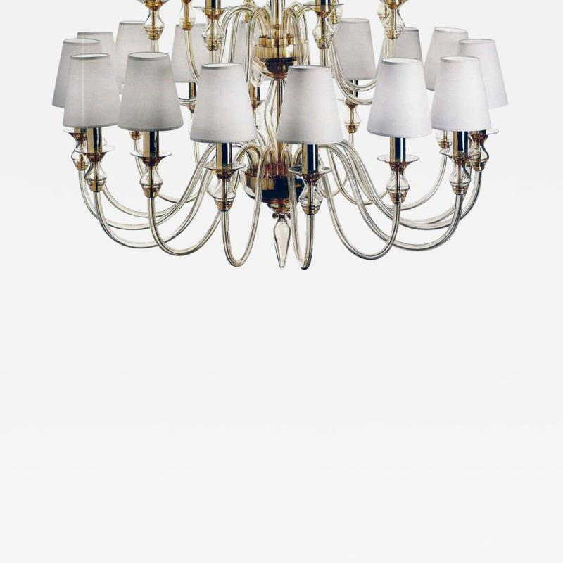 Modern Neoclassical Double Tier Murano Glass Chandelier