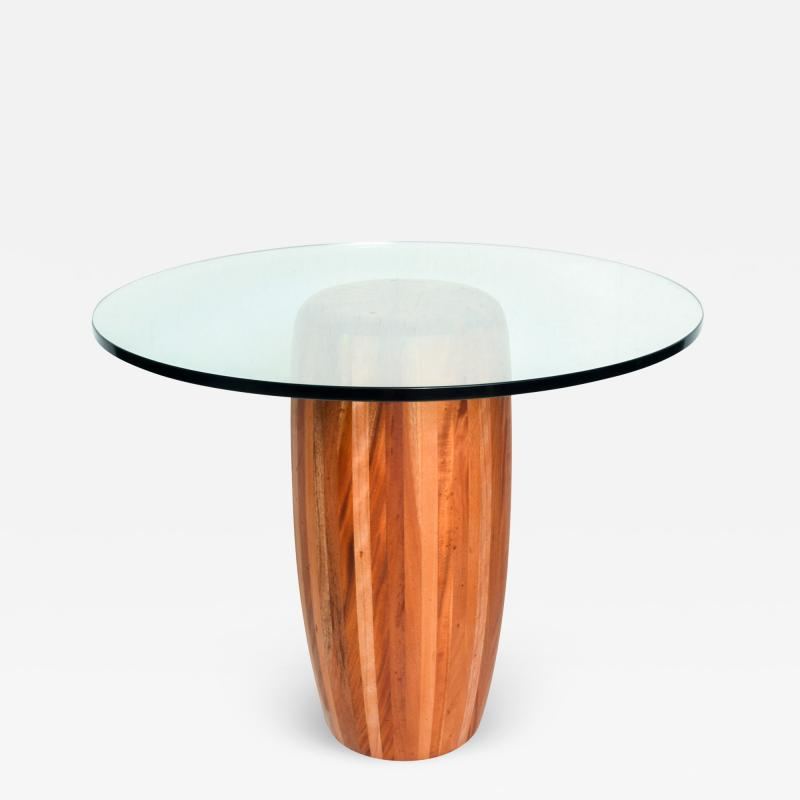 Modern Round Center Table Solid Cedar Wood Pedestal with Glass Top Mexico 1980s