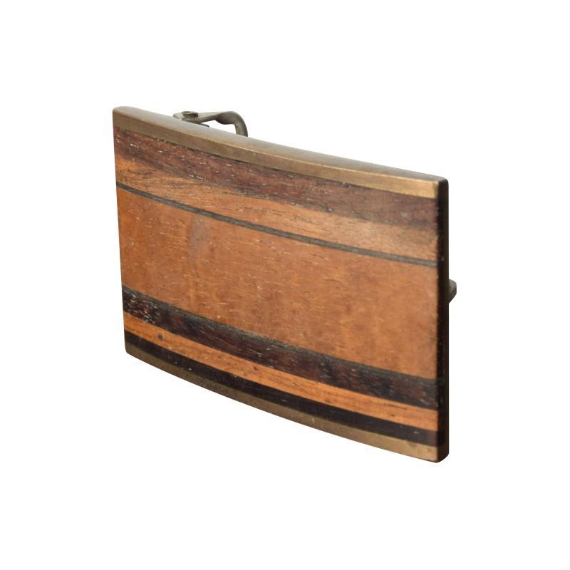 Modern Urban Cowboy 1970s KENNETH REID Brass Wood Belt Buckle New Mexico