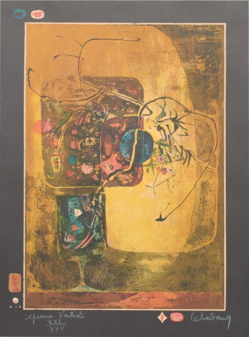 Modern Vietnamese French Still Life Original Color Lithograph by HOI LEBEDANG