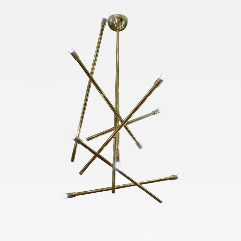 Modernist Brass Chandelier with Eight Lights