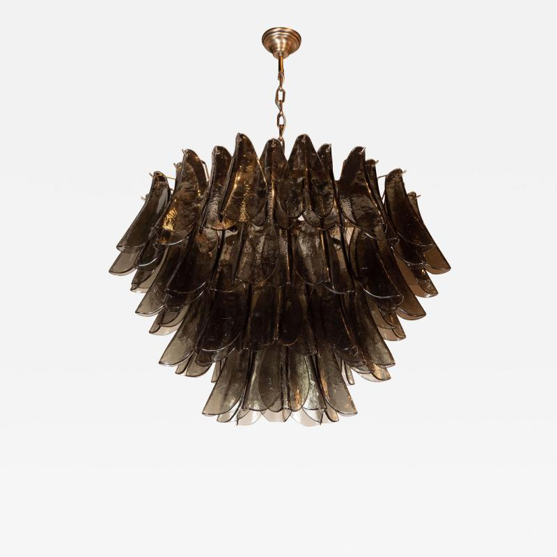 Modernist Feather Chandelier in Murano Smoked Grey Glass and Oil Rubbed Bronze