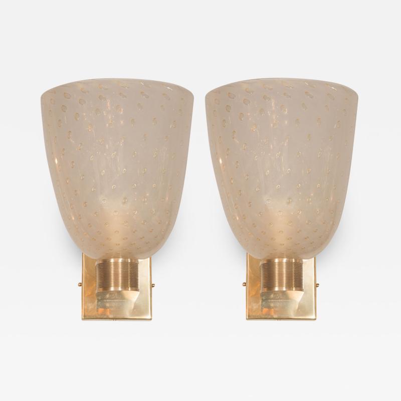 Modernist Handblown Murano Glass 24kt Gold Sconces