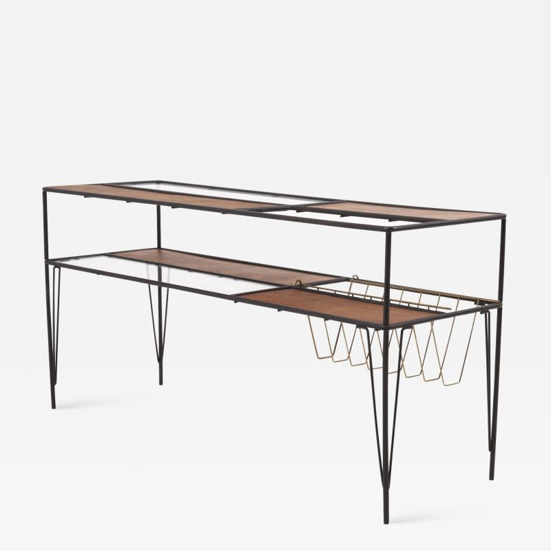 Modernist Magazine Rack or Side Coffee Table in Metal Wood and Glass USA 1950s