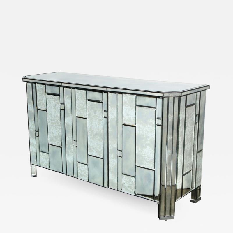 Modernist Pentagonal Form Mosaic Mirrored Cabinet with Ebonized Oak Interior