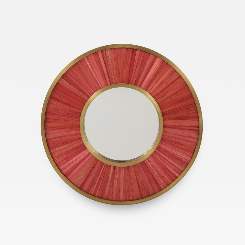Modernist mirror Executed in straw marquetry and solid brass frame