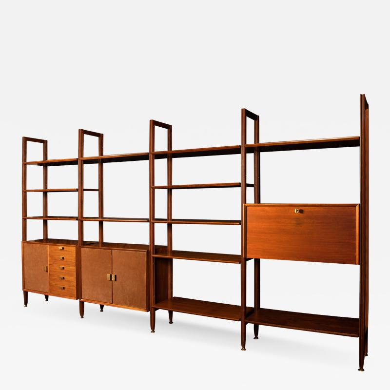 Modular Bookcase In Wood Suede And Brass Italy Late 1950s