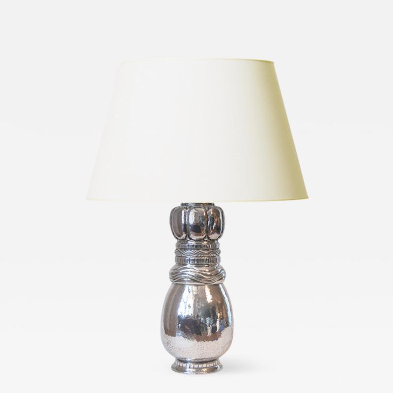 Mogens Ballin Extraordinary Art Nouveau Silver Lamp by Mogen Ballin for Pter Herz