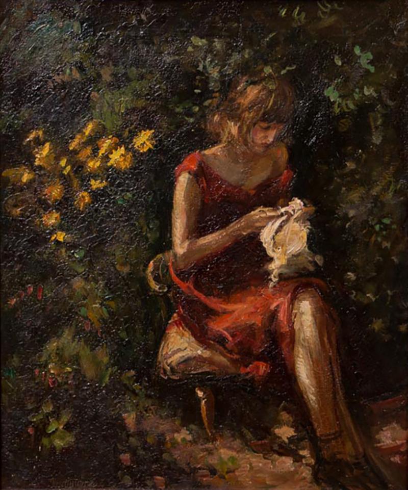 Mogens Christian Vantore Vintage Oil Painting the Artists Wife in the Garden by Mogens Vantore