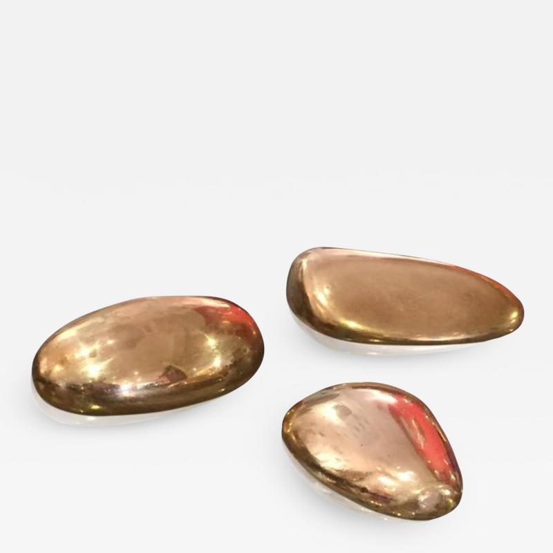 Monique Gerber Suite of three solid bronze pebbles by Monique Gerber France 1970s
