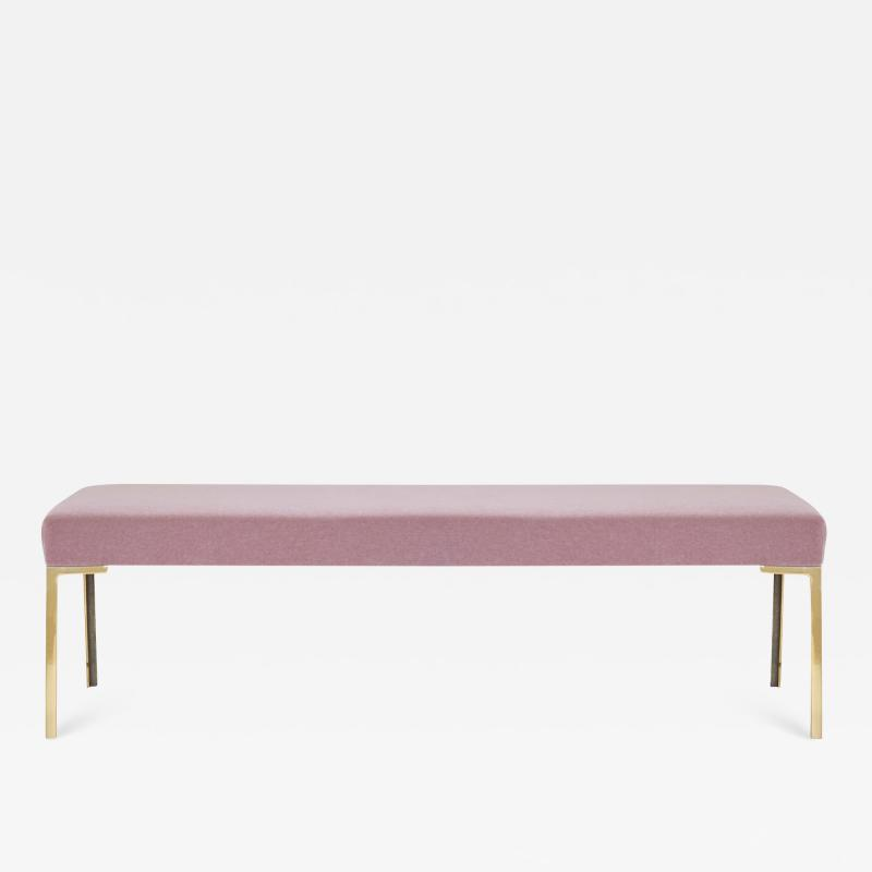Montage Astor 60 Brass Bench in Blush Mohair by Montage
