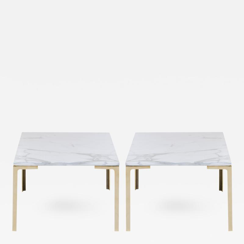 Montage Astor Brass Occasional Tables in Carrara Marble by Montage Pair