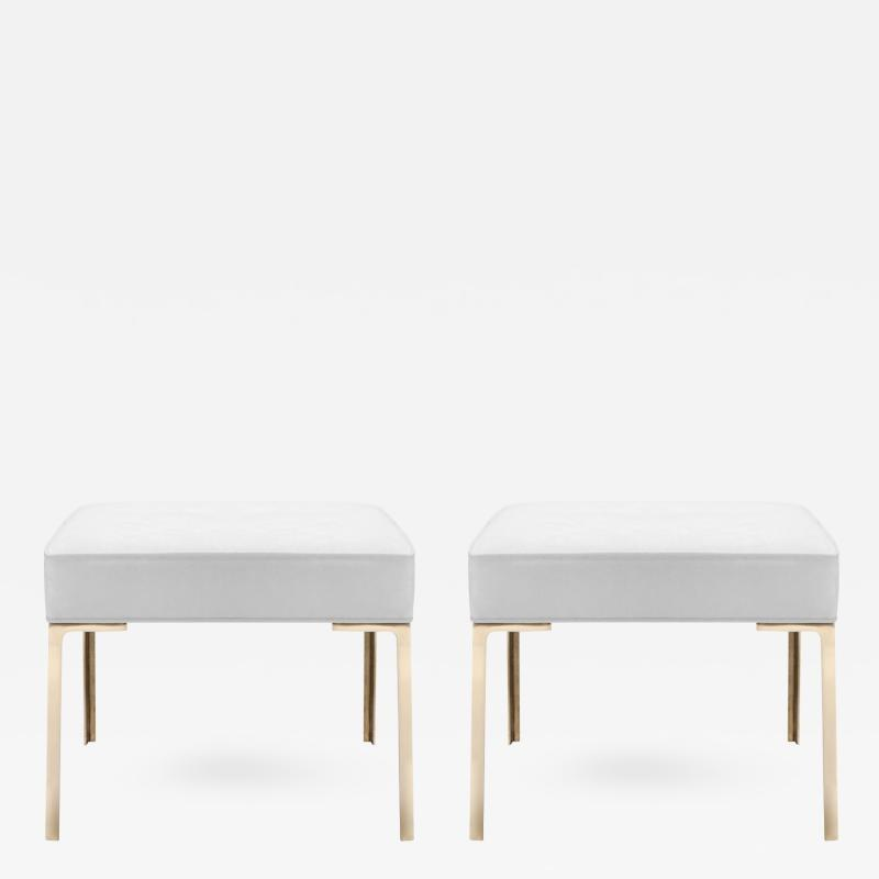 Montage Astor Brass Ottomans in Dove Luxe Suede by Montage Pair
