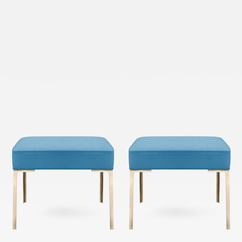Montage Astor Brass Ottomans in Lagoon Luxe Suede by Montage Pair