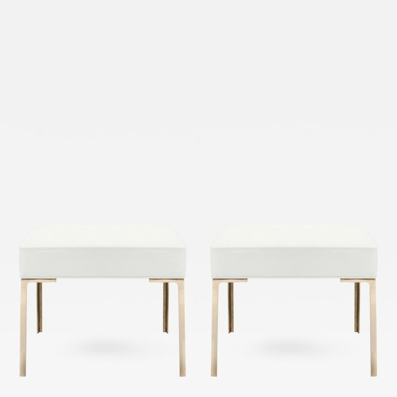 Montage Astor Brass Ottomans in Snow Luxe Suede by Montage Pair