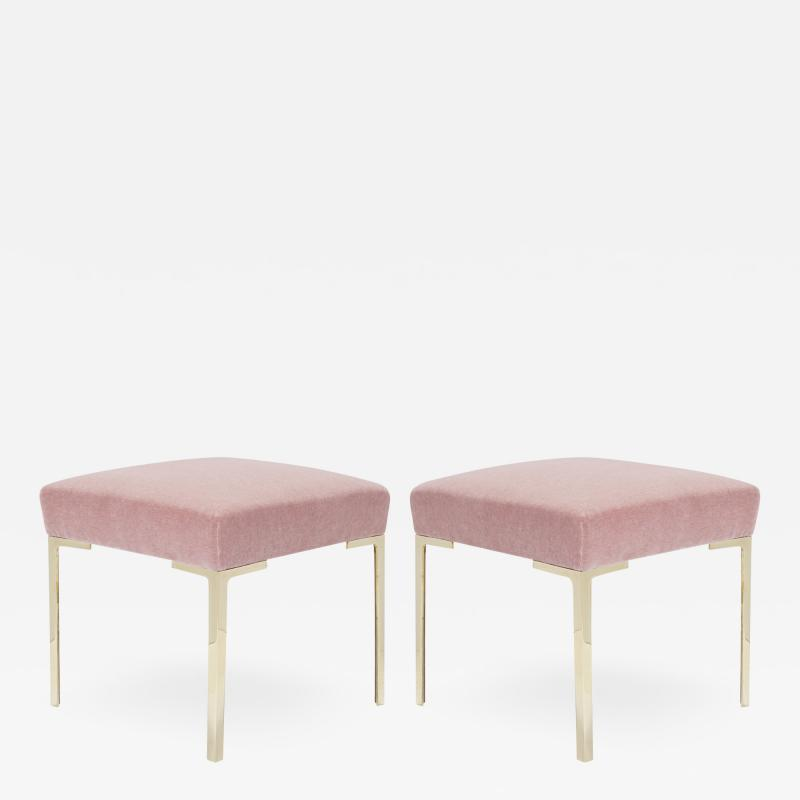 Montage Astor Petite Brass Ottomans in Blush Mohair by Montage Pair