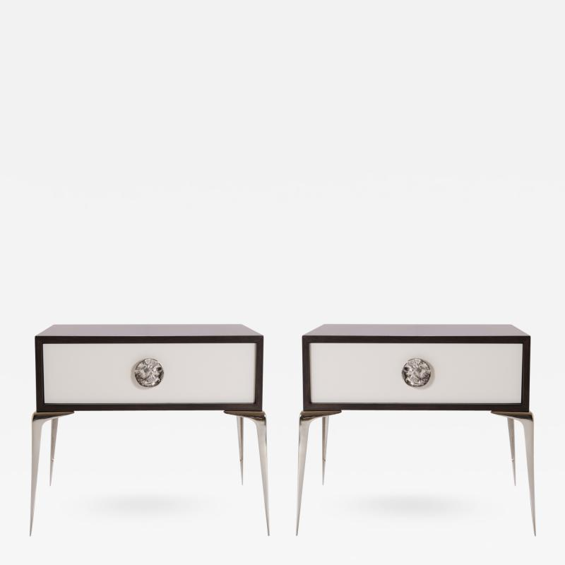 Montage Colette Nickel Nightstands in Ebony Ivory by Montage Pair