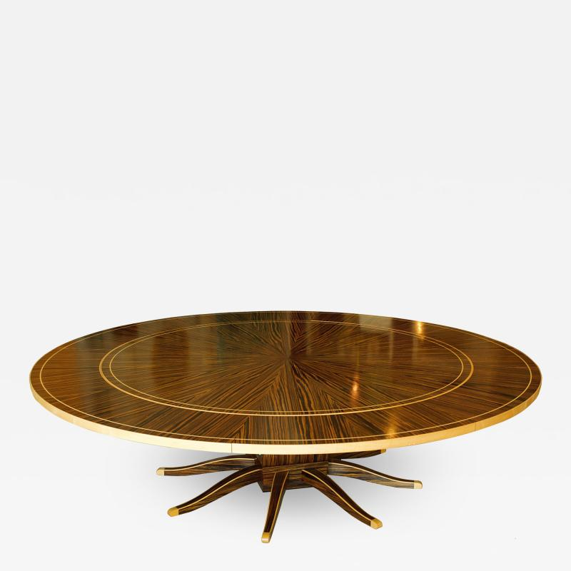 Monumental Art Deco Style Zebrawood and Lemonwood Extension Dining Table