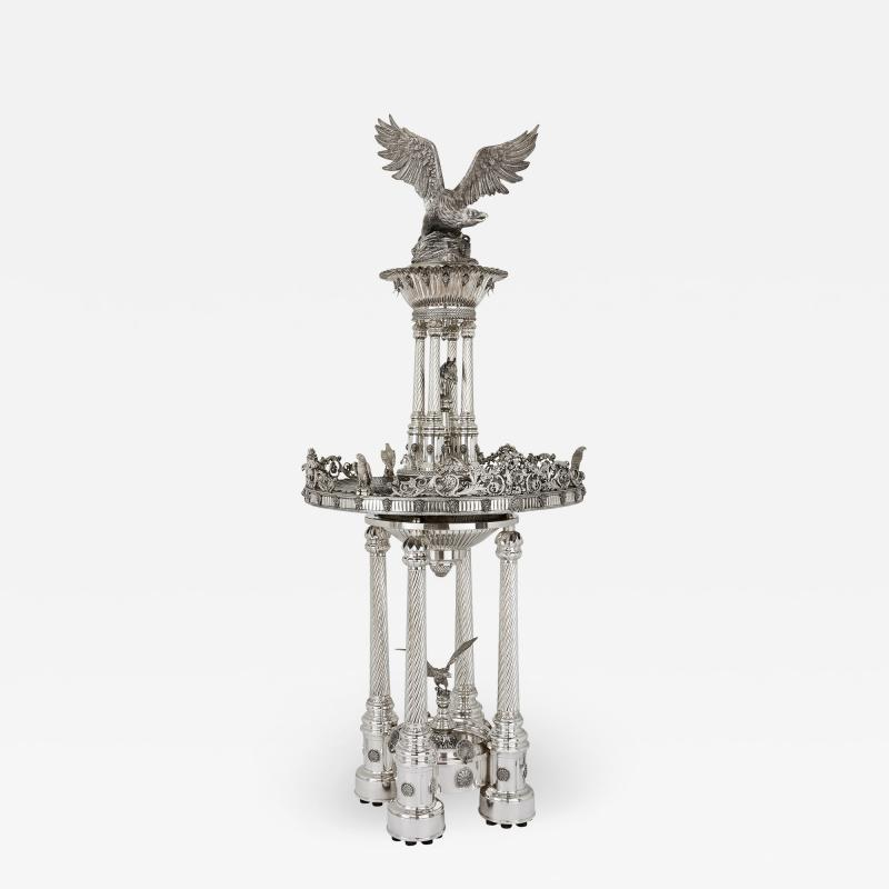 Monumental Belle Epoque style solid silver fountain