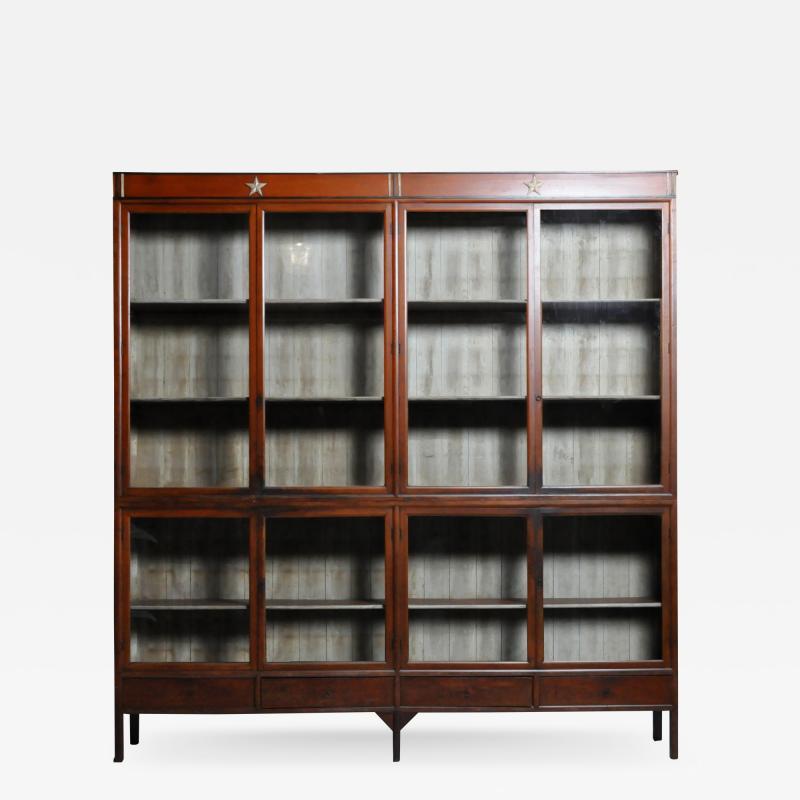 Monumental British Colonial Teak Wood Bookcase
