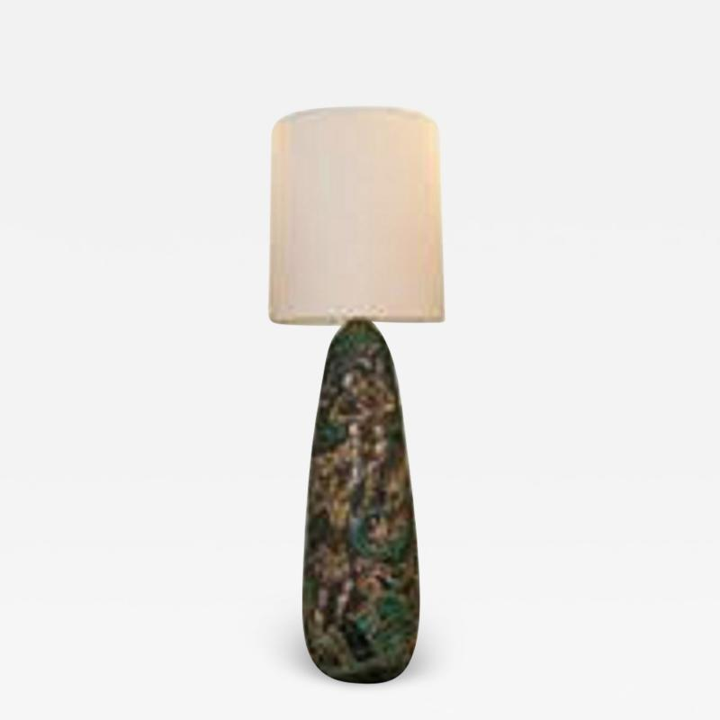 Monumental Ceramic Table Lamp Signed Marian 59 Sweden