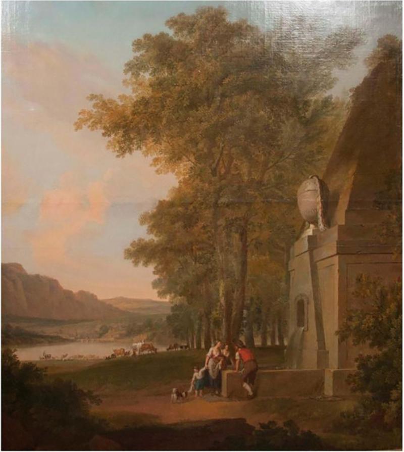 Monumental Framed Oil on Canvas Pastural Landscape