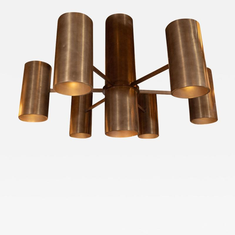Monumental Minimalist Six Arm Oil Rubbed Bronze Cylindrical Form Chandelier