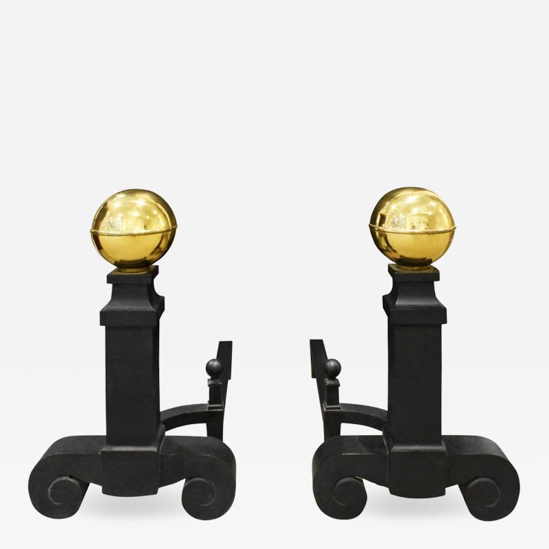 Monumental Pair Of Andirons In Wrought Iron And Brass 1970s