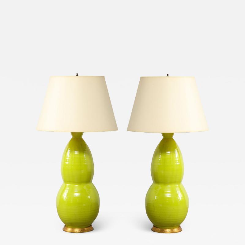 Monumental Pair of Mid Century Ceramic Double Gourd Lamps