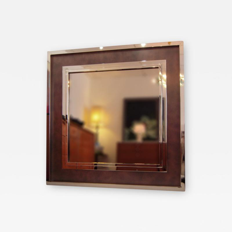 Monumental Stainless Steel Copper Wall Mirror