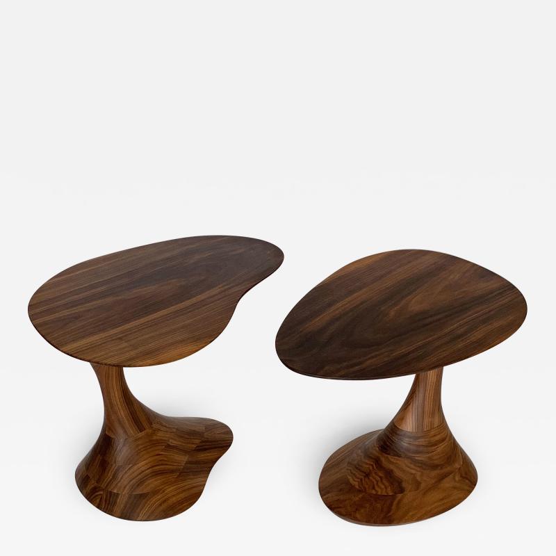 Morten Stenbaek Sculptural Solid Walnut Pedem Side Table Morten Stenbaek
