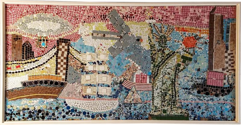 Mosaic Panel of The Bicentennial in New York Harbor 1978 4 by 8 feet