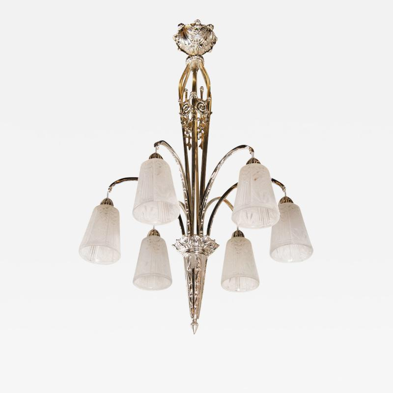 Muller Fr res Exquisite Art Deco Nickeled Bronze Chandelier by Muller Fr res
