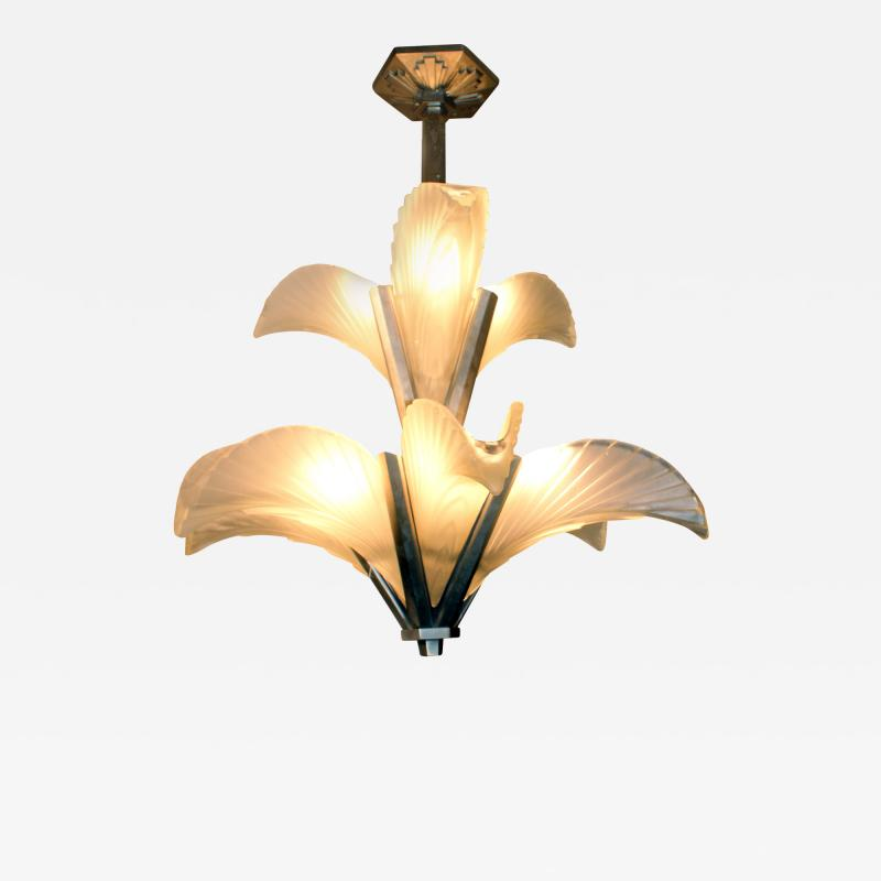 Muller Fr res Les Plumes French Art Deco Chandelier