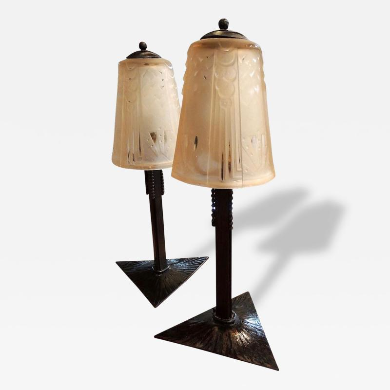 Muller Fr res Pair of Peach Art Deco Muller Glass and Iron Lamps
