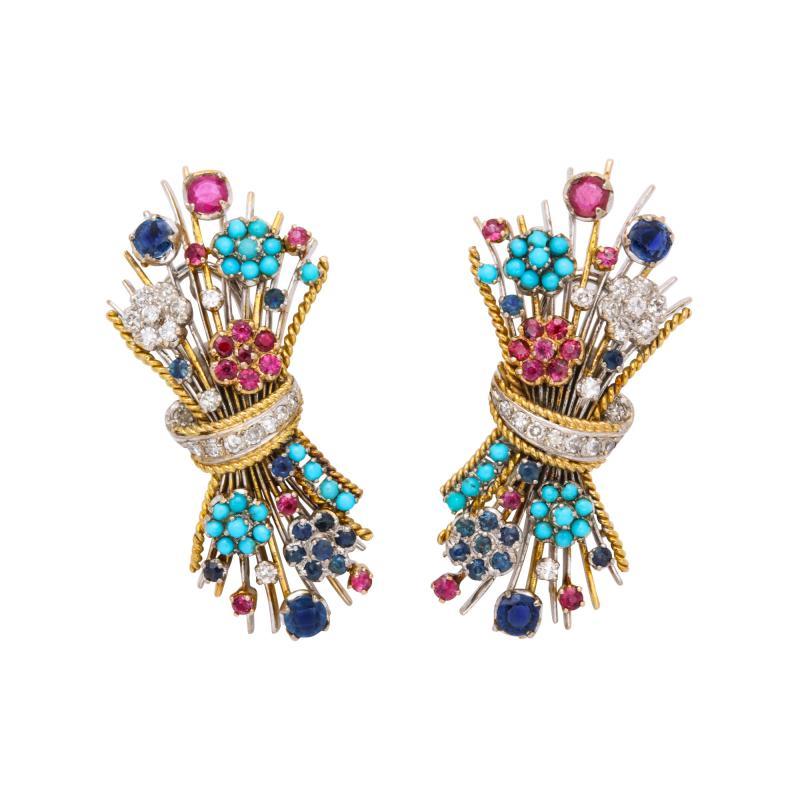 Multi Gemstone Bouquet Earrings