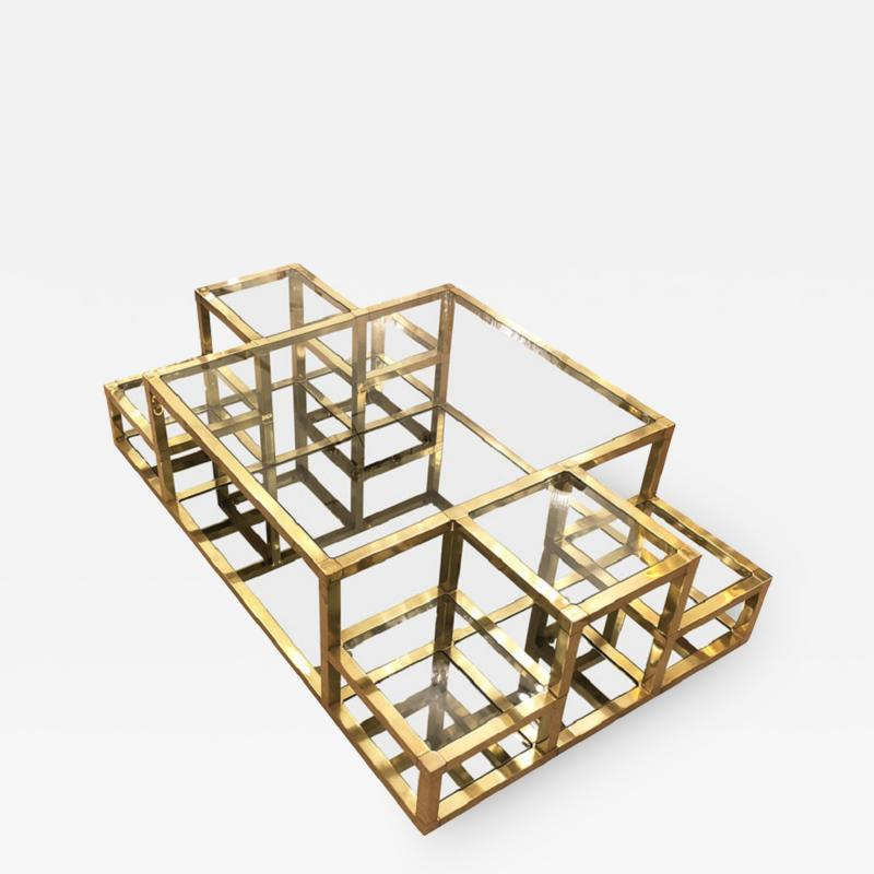 Multi Level Brass Coffee Table Italy 1960s