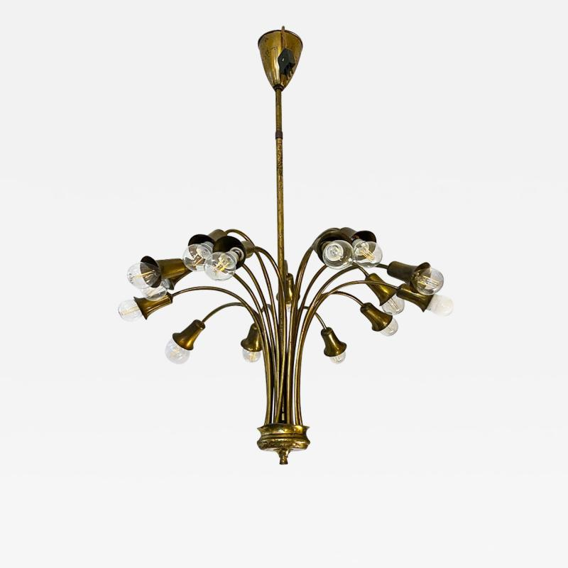 Multi light brass chandelier 1950s