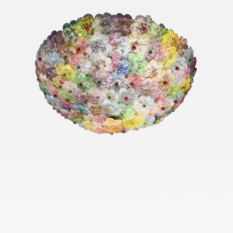 Multicolor Flowers Basket Murano Glass Ceiling Light