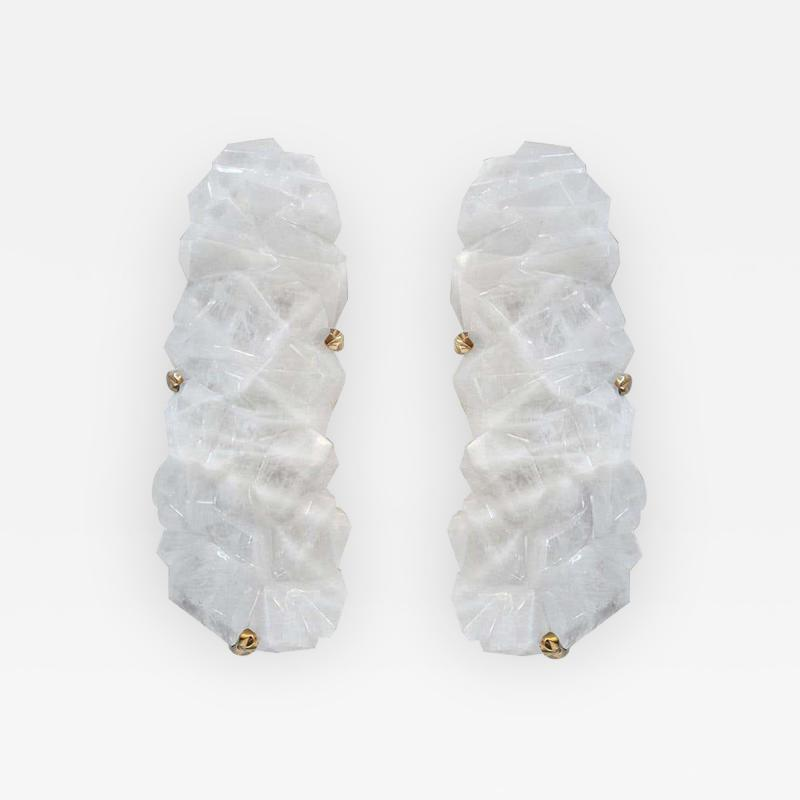 Multifaceted Rock Crystal Sconces by Phoenix