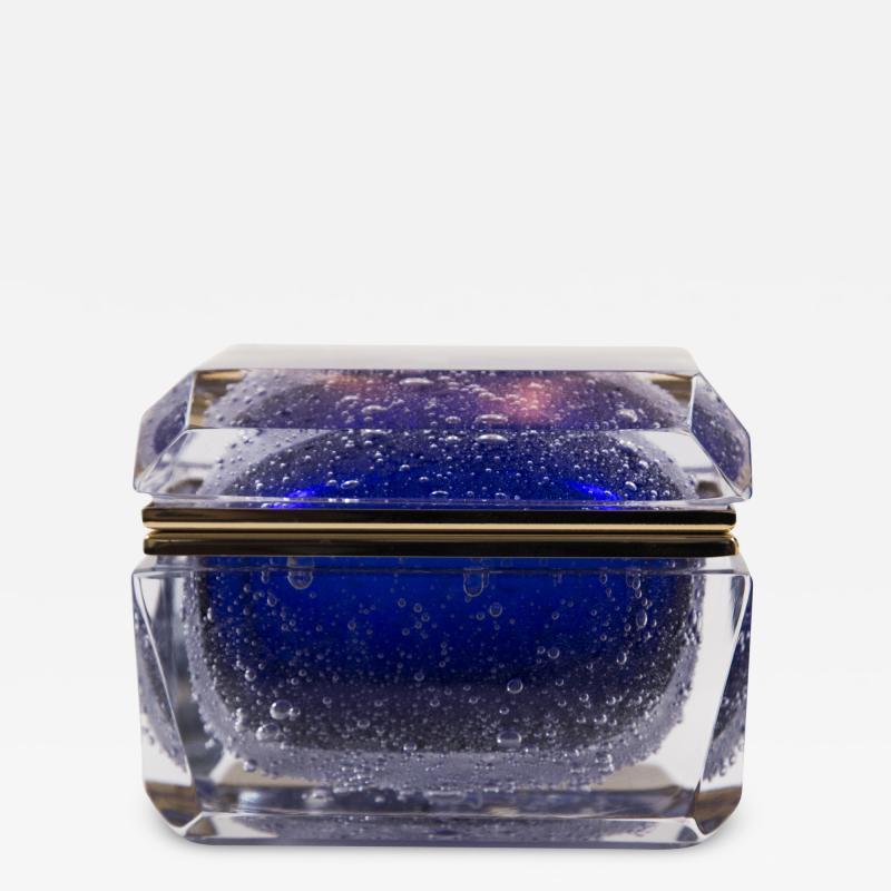 Murano Cobalt Blue Pulegoso Chamfered Rectangular Box