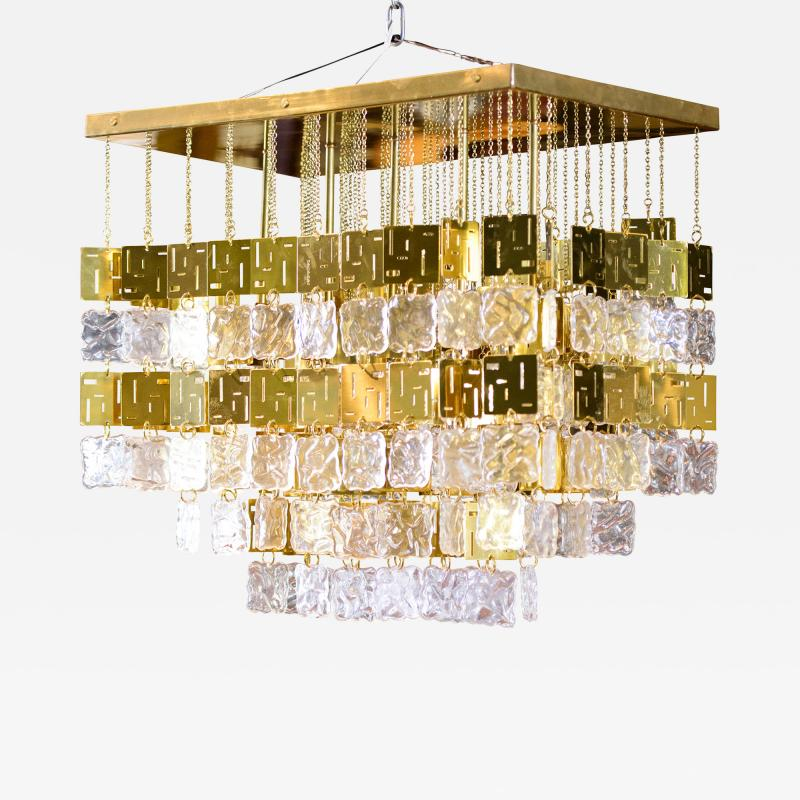 Murano Crystal and Brass Chandelier