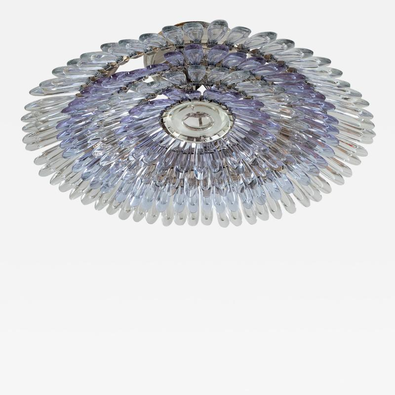 Murano glass feather flush mount ceiling fixture