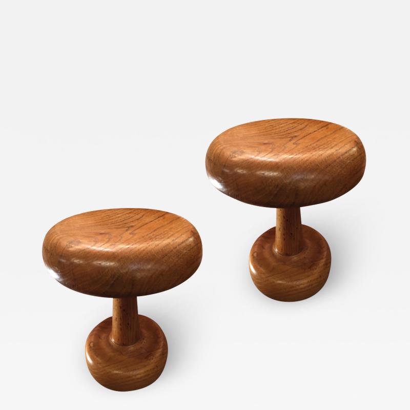Mushroom shaped awesome rarest pair of 50s oak stools
