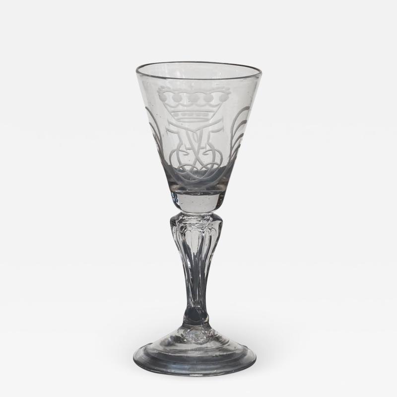 NORWEGIAN N STETANGEN GLASS ENGRAVED WITH CROWNED MONOGRAM FOR FREDERIK V