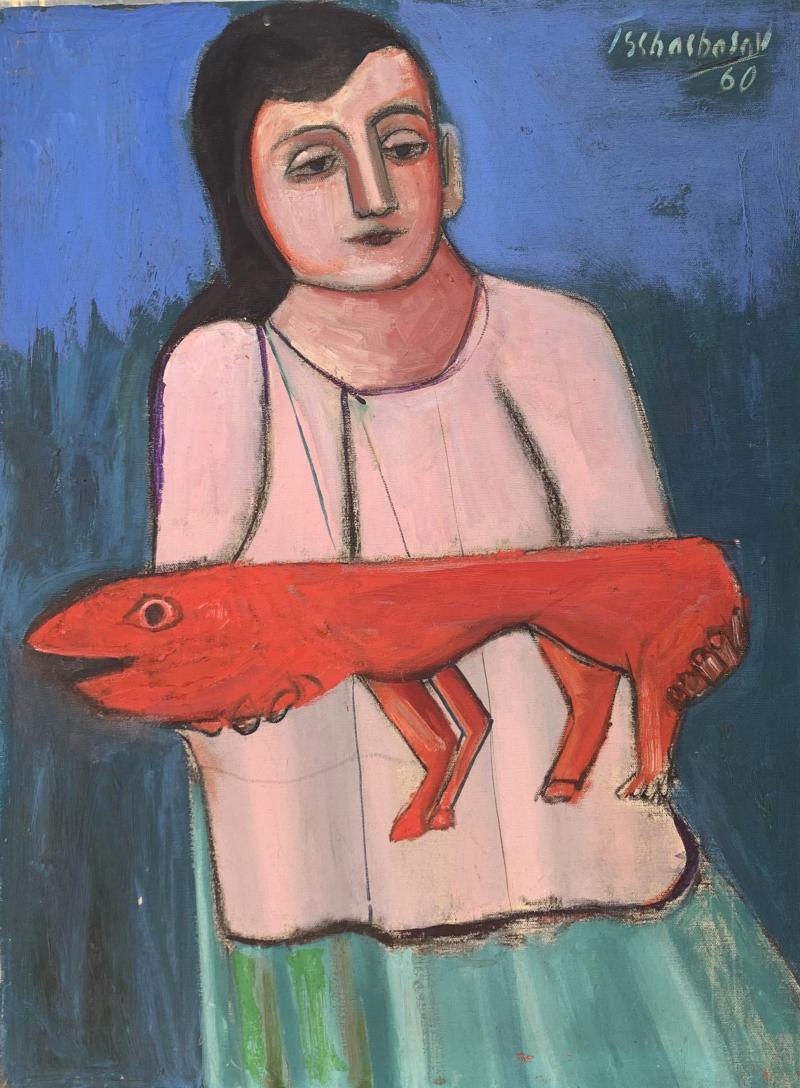 Nahum Tschacbasov Woman with Red Dog